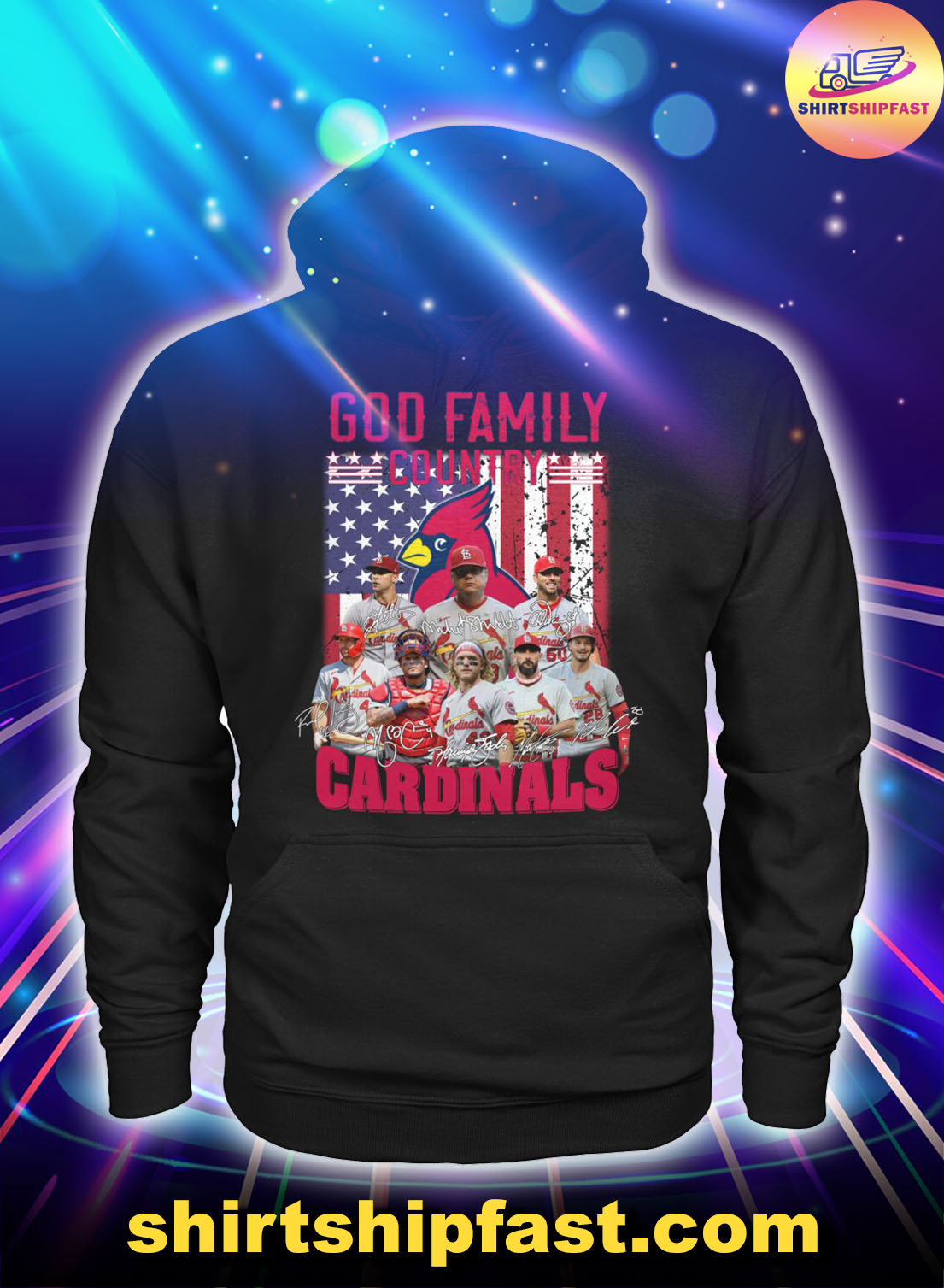 God-family-country-St.-Louis-Cardinals-American-flag-shirt - 2