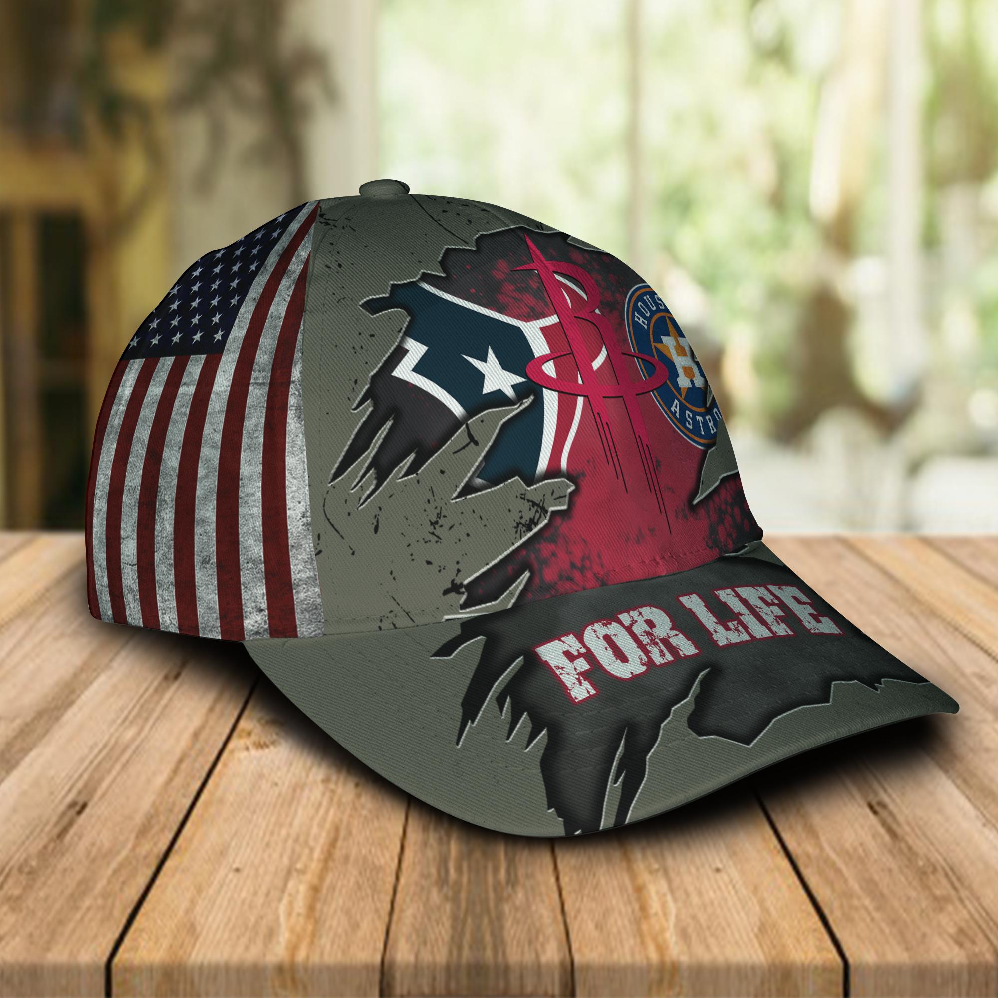 Houston Texans, Houston Astros, Houston Rockets For Life Hat Cap-1