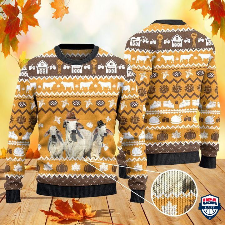 Brahman Cattle Lovers Thanksgiving Gift All Over Print Ugly Sweater