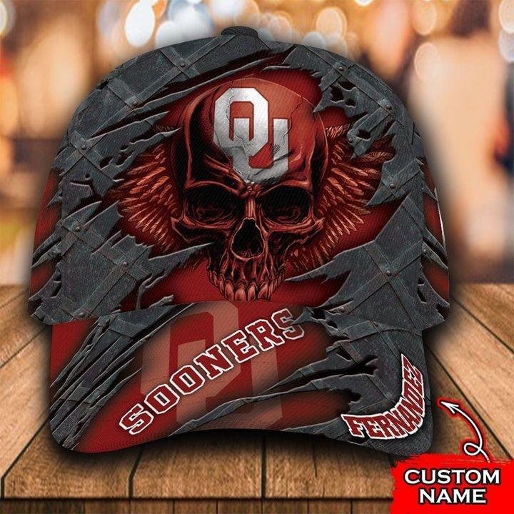 NCAA Oklahoma Sooners 3D Skull Custom Name Classic Cap