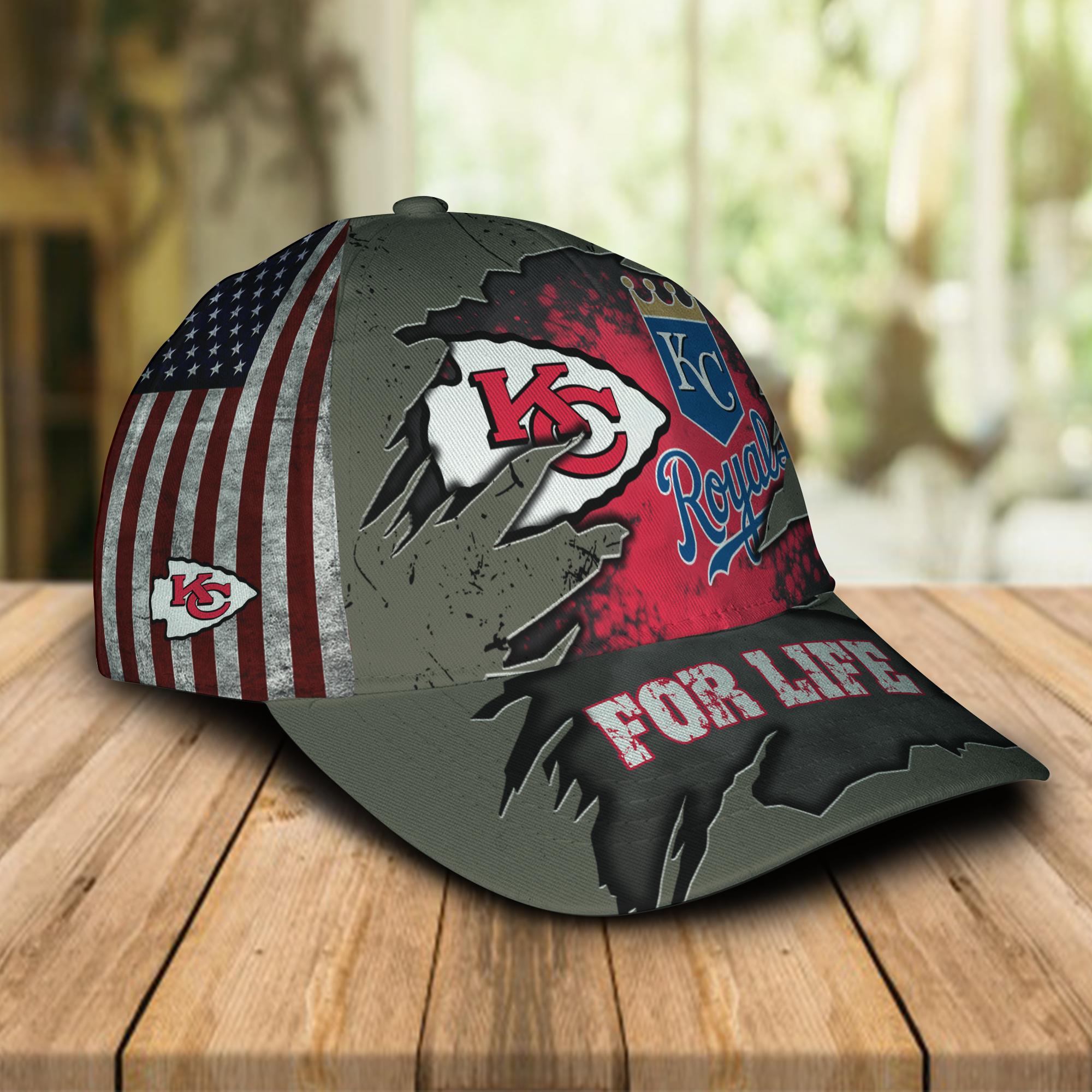 Kansas City Chiefs and Kansas City Royals For Life Hat Cap -