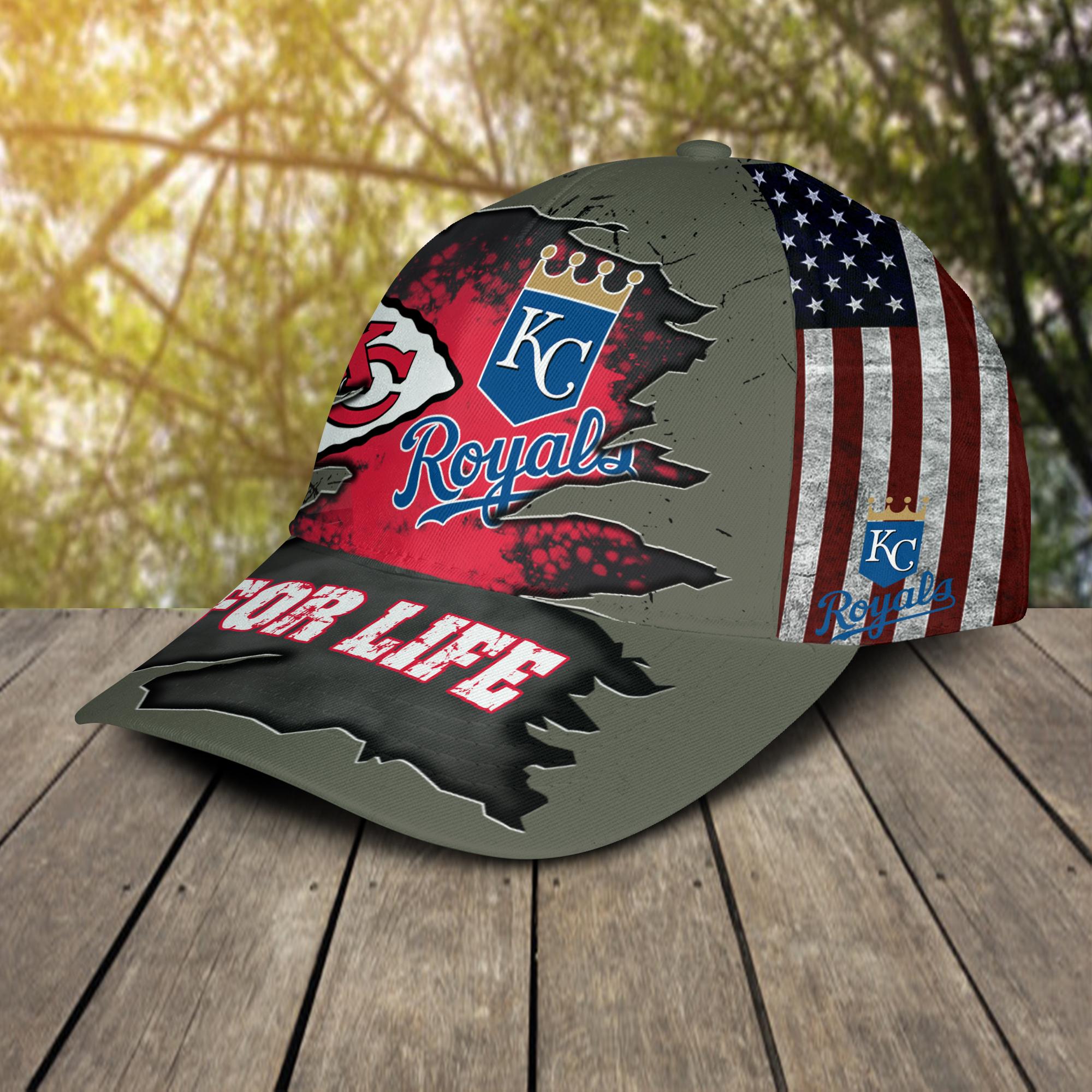 Kansas City Chiefs and Kansas City Royals For Life Hat Cap -2