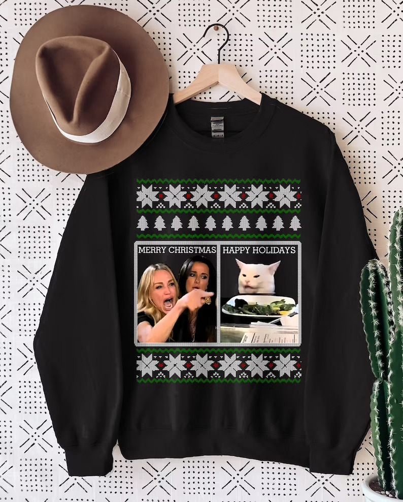 Woman Yelling At A Cat Ugly Christmas Sweater
