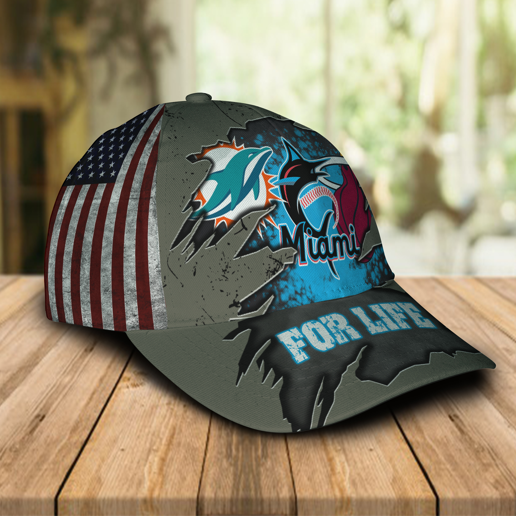 Miami Dolphins, Miami Marlins, Miami Heat For Life Hat Cap -1