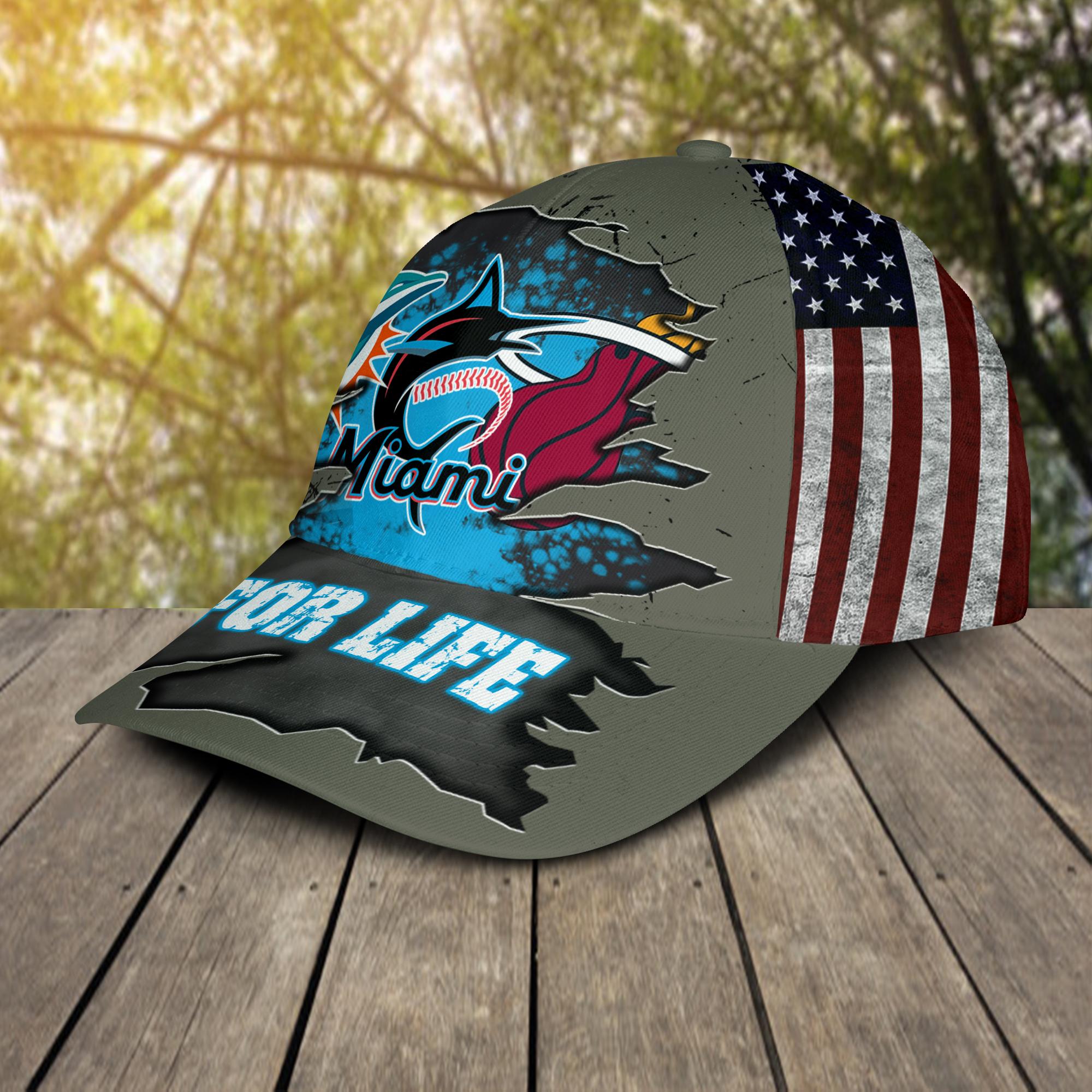 Miami Dolphins, Miami Marlins, Miami Heat For Life Hat Cap -2