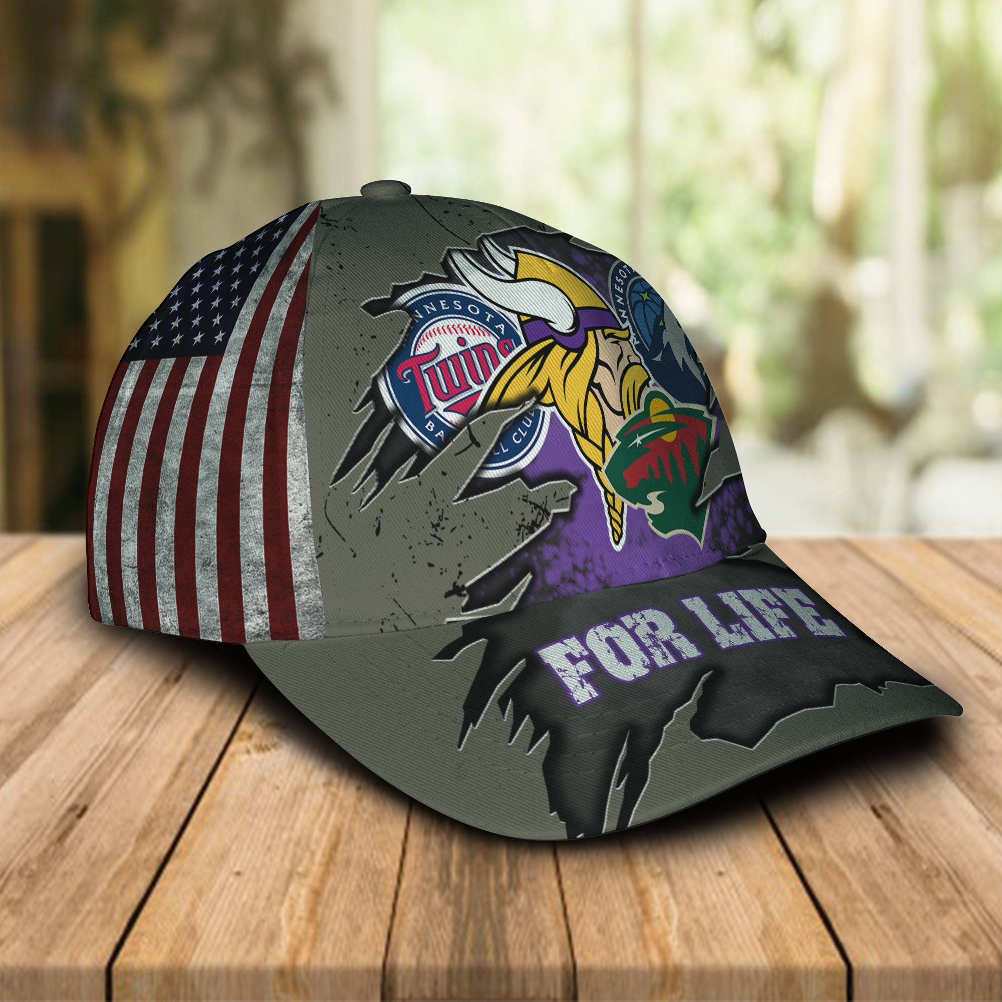 Minnesota Vikings With Twins, Timberwolves, Wild For Life Hat Cap -1