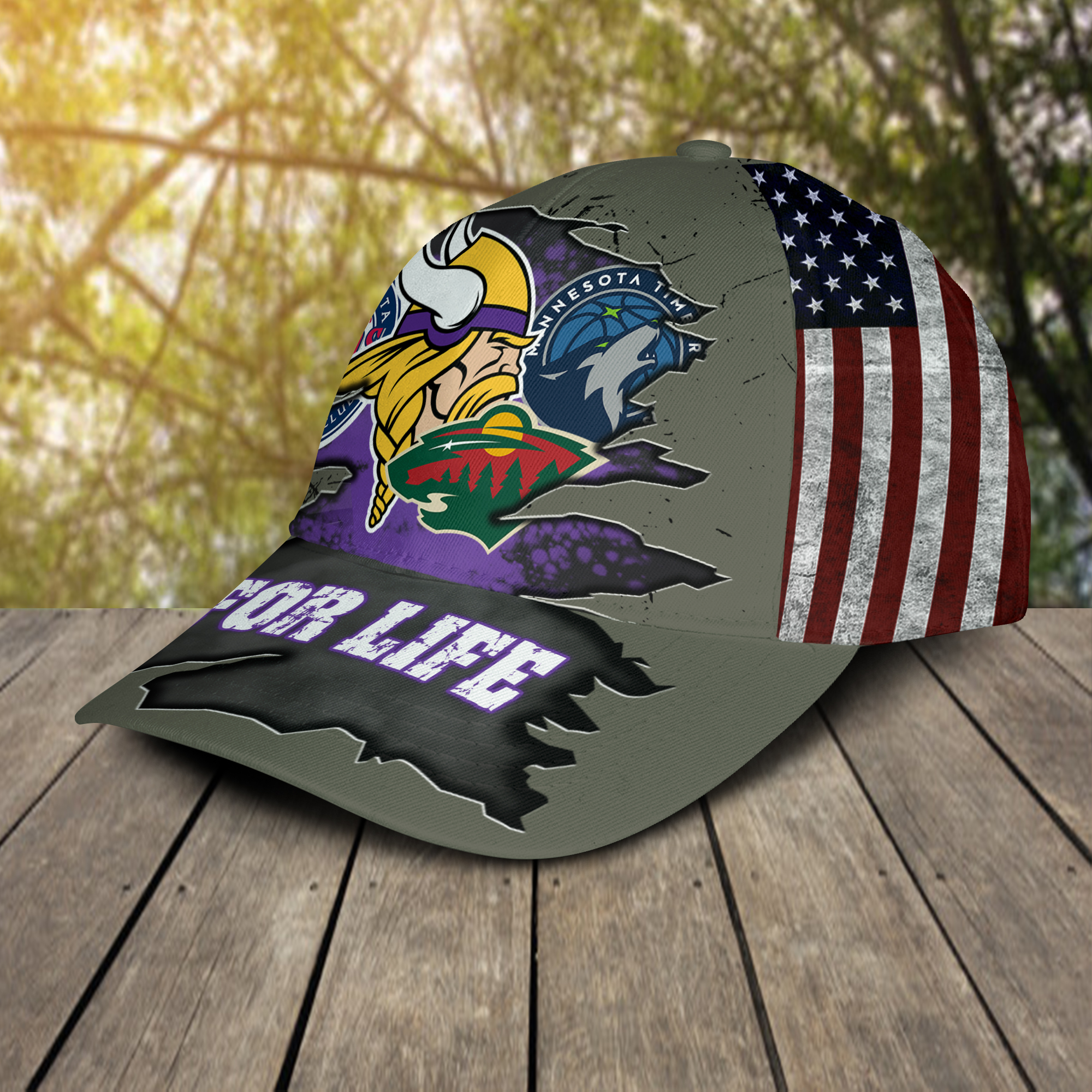 Minnesota Vikings With Twins, Timberwolves, Wild For Life Hat Cap -2