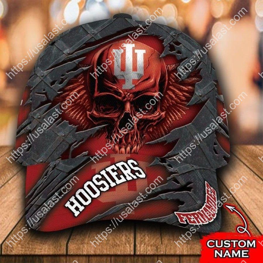 NCAA Indiana Hoosiers 3D Skull Custom Name Classic Cap