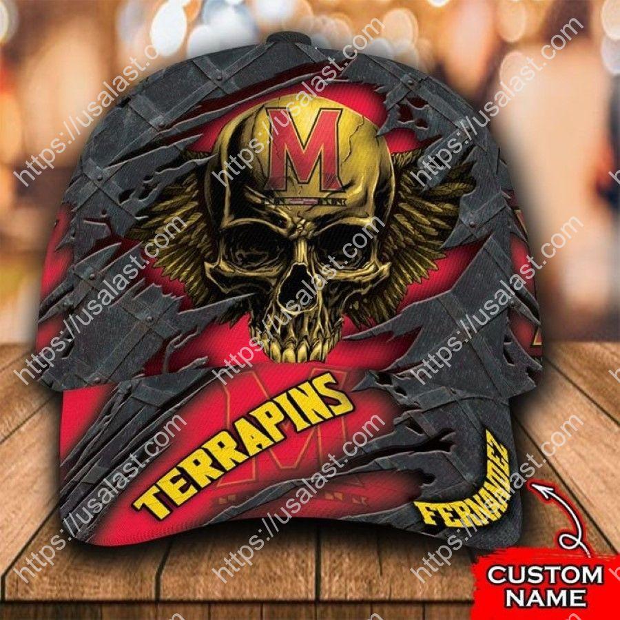 NCAA Maryland Terrapins 3D Skull Custom Name Classic Cap