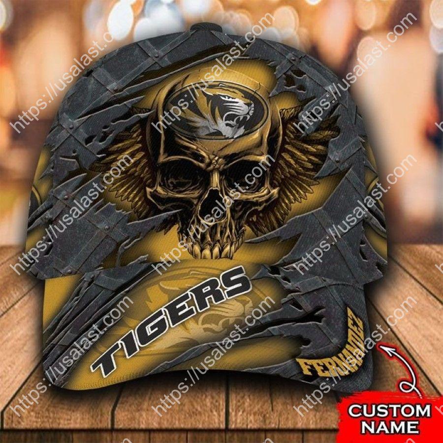 NCAA Missouri Tigers 3D Skull Custom Name Classic Cap