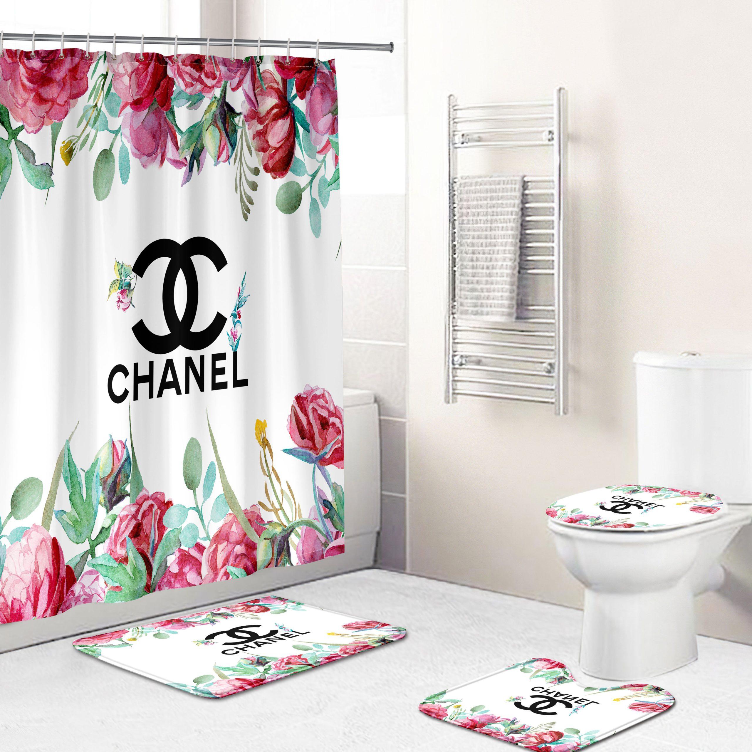 Chanel Floral Shower Curtain Luxury Brand Bathroom Set