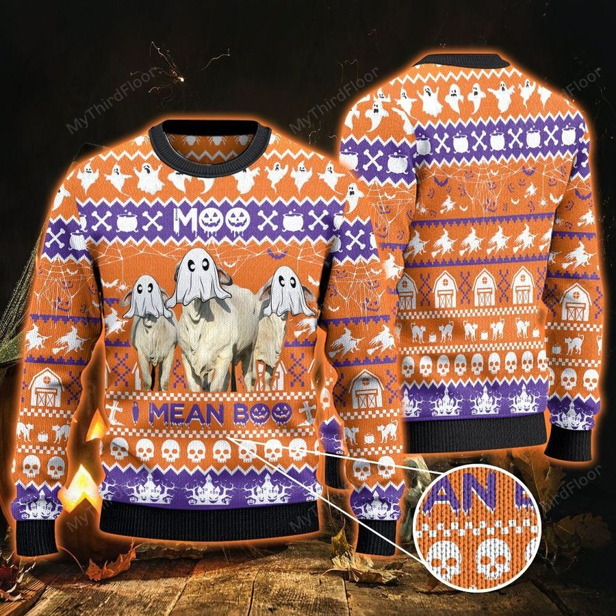 Brahman Cattle Lovers Halloween Gift Moo I Mean Boo All Over Print Ugly Sweater -1