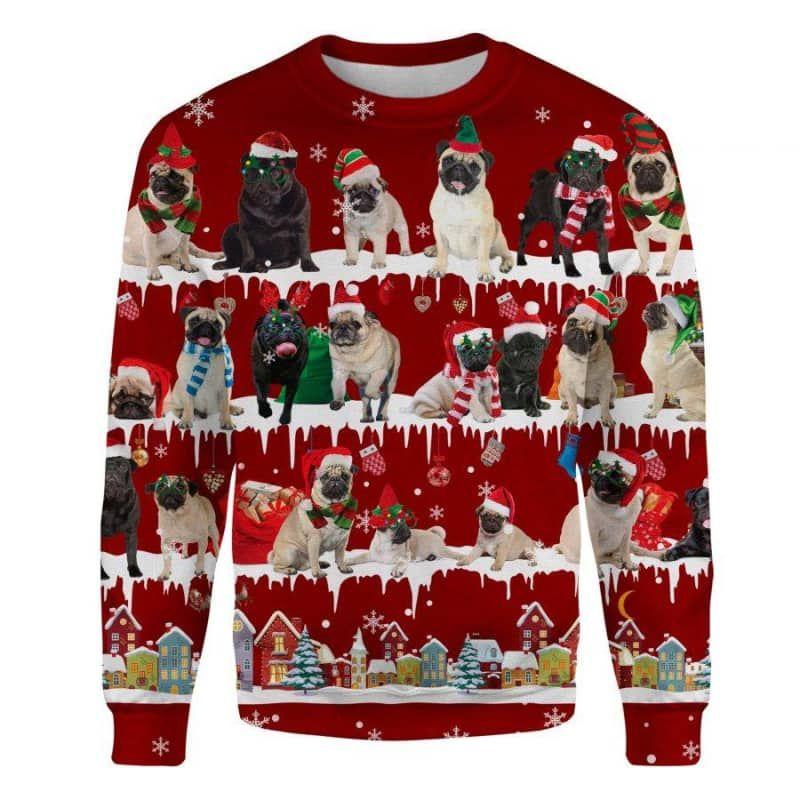 Pug Snow Christmas 3D Ugly Sweater