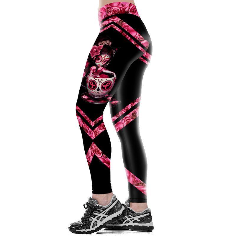 Skull fairy breast cancer awareness full print leggings -1