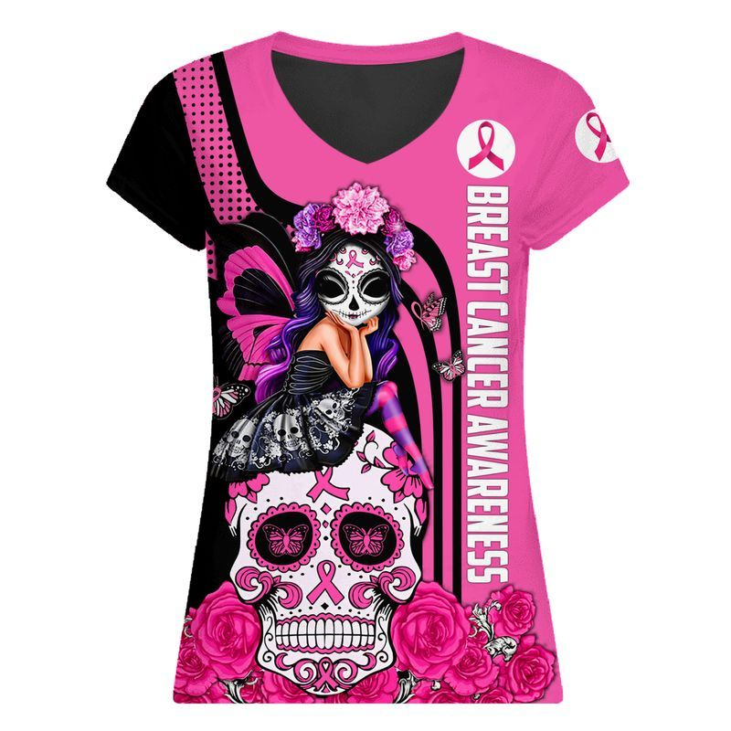 Skull fairy girl breast cancer awareness 3d v-neck
