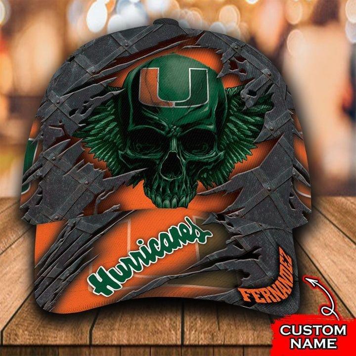 NCAA Miami Hurricanes 3D Skull Custom Name Classic Cap