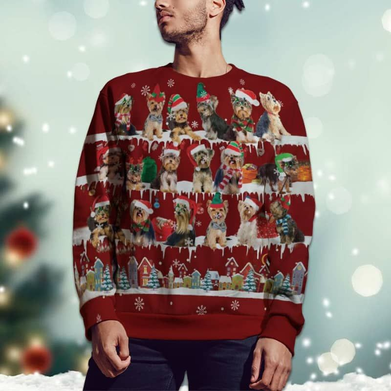 Yorkshire Terrier Snow Christmas 3D Ugly Sweater-2