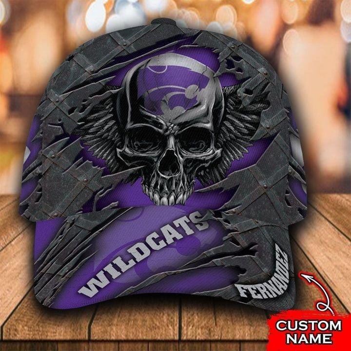 NCAA Kansas State Wildcats 3D Skull Custom Name Classic Cap