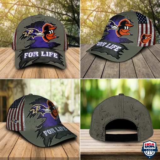 Baltimore Ravens And Baltimore Orioles For Life Hat Cap