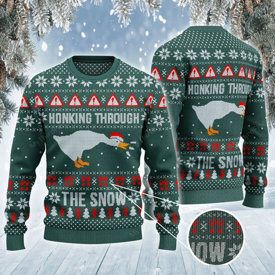 Honking Through The Snow All Over Print Ugly Sweater -1