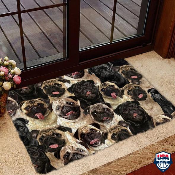A Bunch Of Pugs Doormat