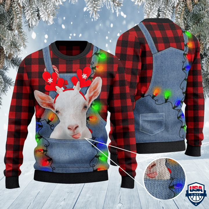 Goat Lovers Red Plaid Shirt And Denim Bib Overalls All Over Print Sweater