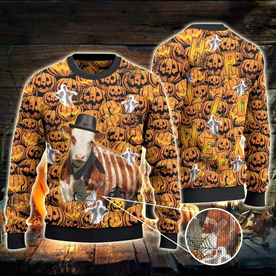 Hereford Cattle Lovers Halloween Pumpkin All Over Print Ugly Sweater-1