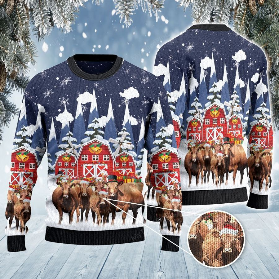 Red Angus Cattle Lovers Snow Farm All Over Print Ugly Sweater-1