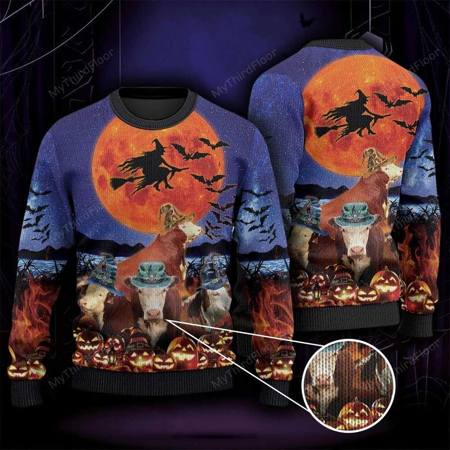 Hereford Cattle Lovers Halloween Moon All Over Print Ugly Sweater-1